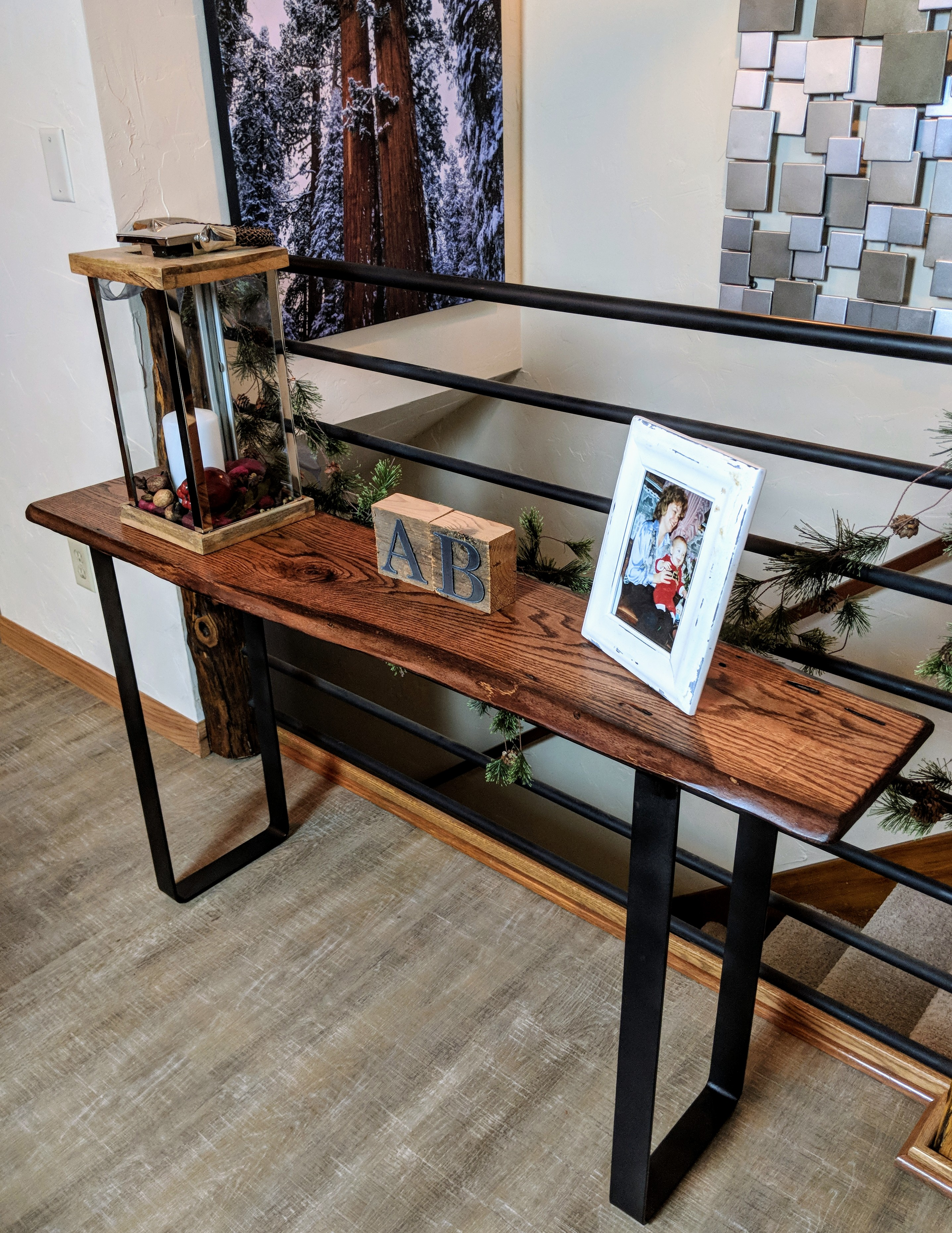 Red Oak Console Table